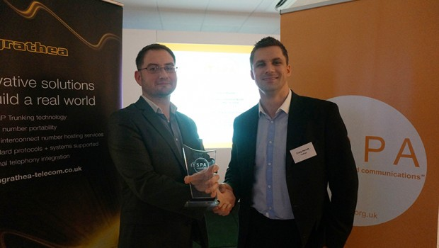 Craig Herrett presenting snom with the Highly Commended Award for Best VoIP CPE