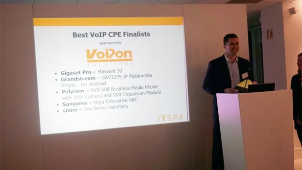 Craig Herrett presenting the Best VoIP CPE Award