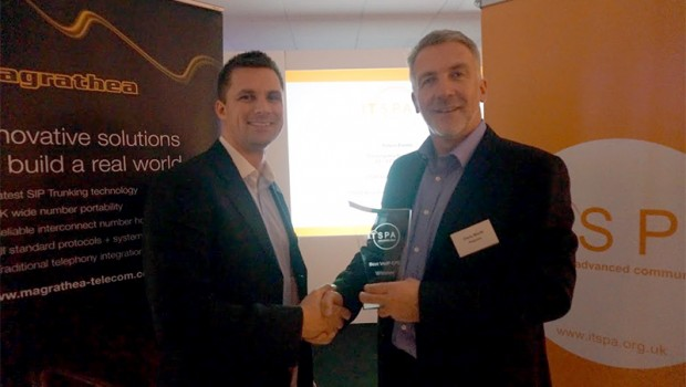 Craig Herrett presenting Chris Wortt from Polycom with the Best VoIP CPE for VVX 600 Business Phone at ITSPA Awards
